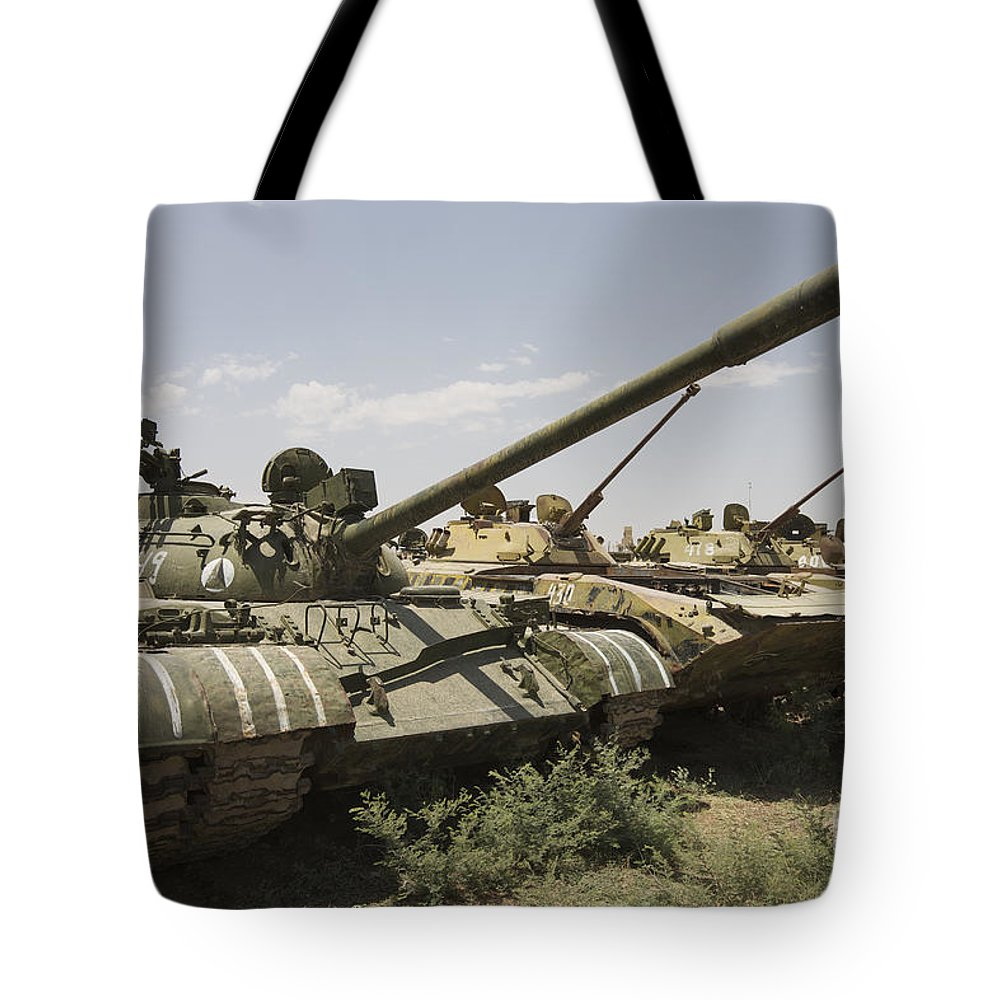 Tracked Vehicles Tote Bag featuring the photograph Russian T-54 And T-55 Main Battle Tanks by Terry Moore