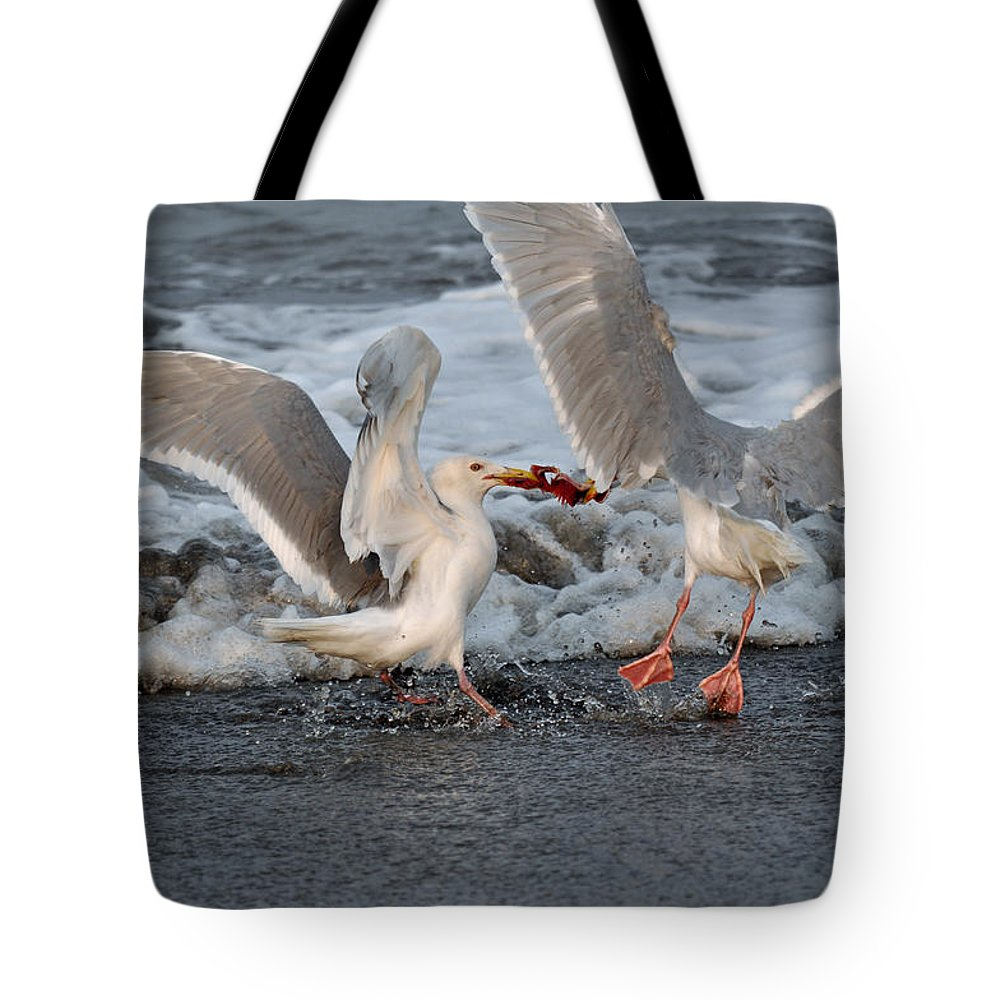 Tote Bag featuring the photograph Seagulls by Debra Miller
