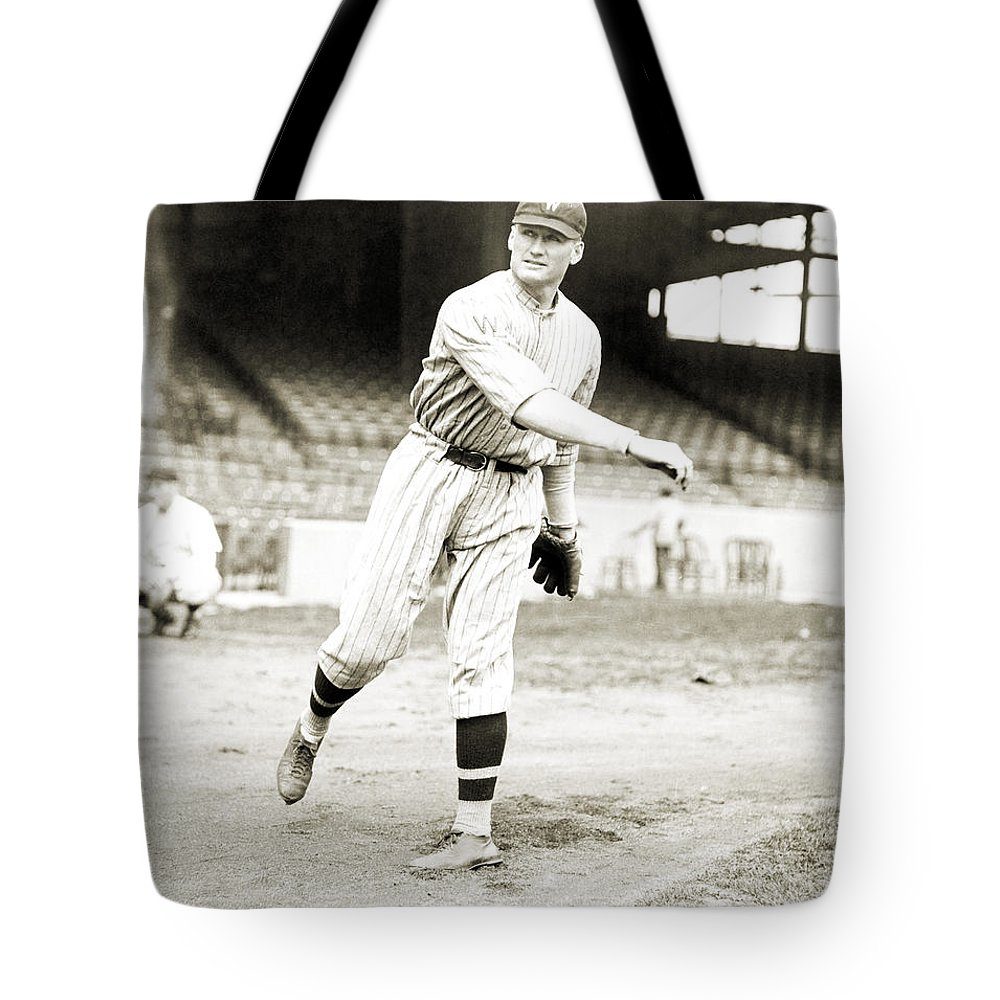1924 Tote Bag featuring the photograph Walter Perry Johnson by Granger