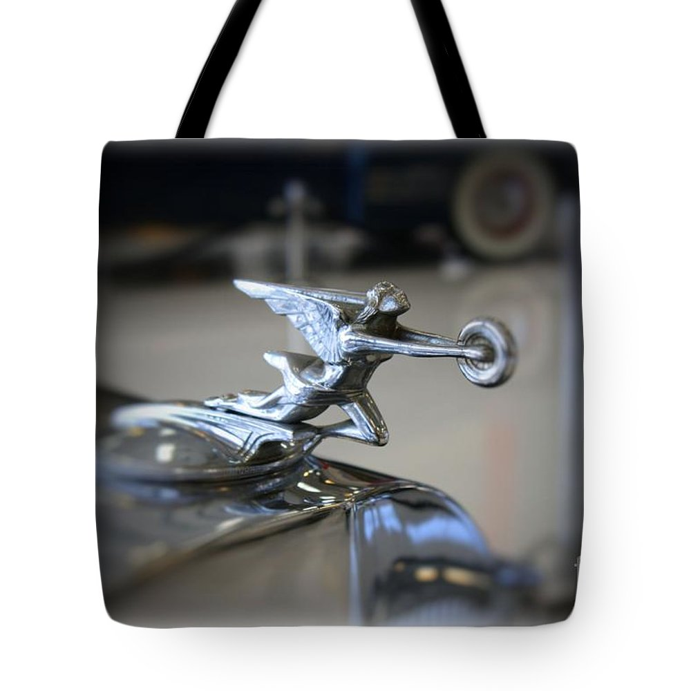 1941 Tote Bag featuring the photograph 41 Packard Hood Ornament by Tommy Anderson
