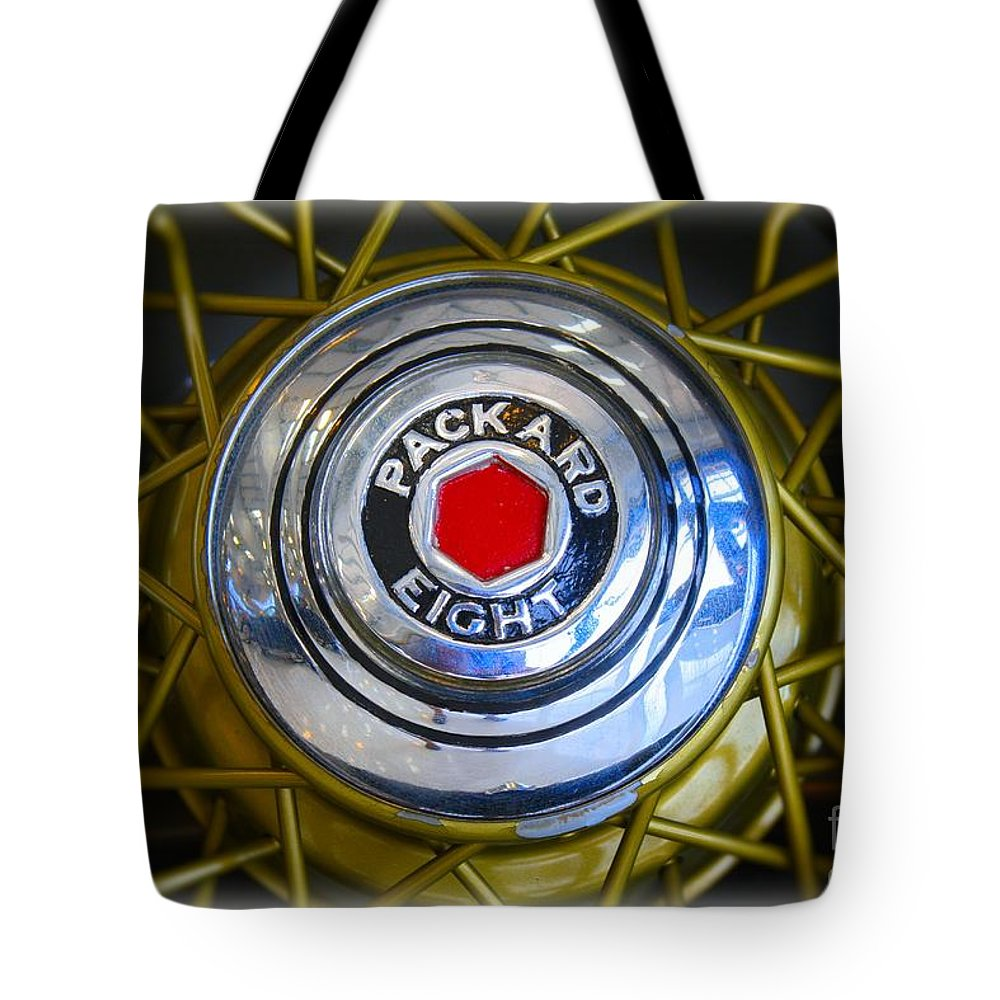 1941 Tote Bag featuring the photograph 41 Packard Wheel by Tommy Anderson
