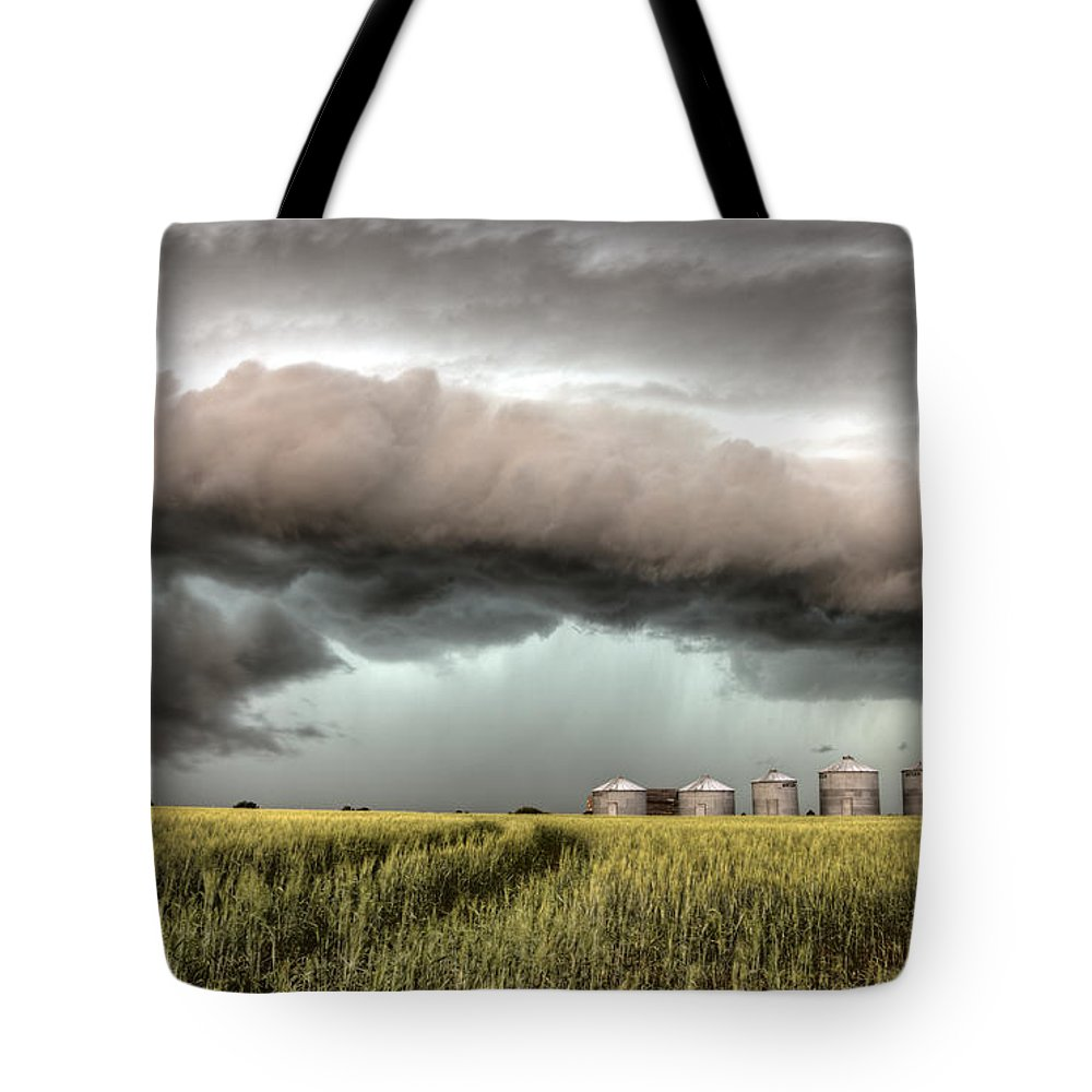Storm Tote Bag featuring the photograph Storm Clouds Saskatchewan by Mark Duffy
