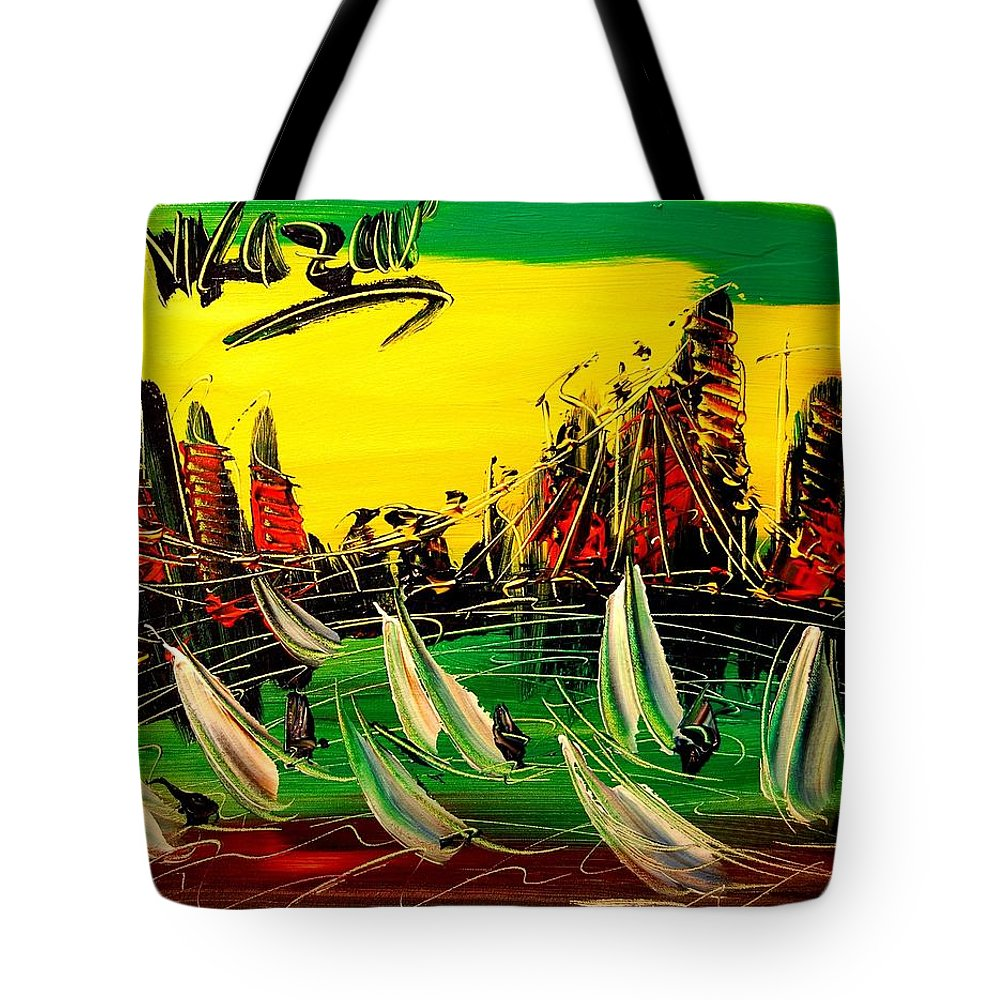 Nature Framed Prints Tote Bag featuring the painting City by Mark Kazav
