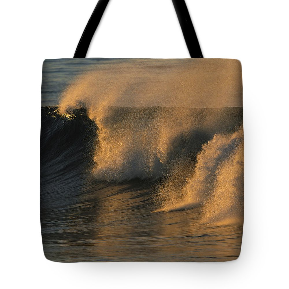 North America Tote Bag featuring the photograph Breaking Surf At Sunset In La Jolla by Tim Laman