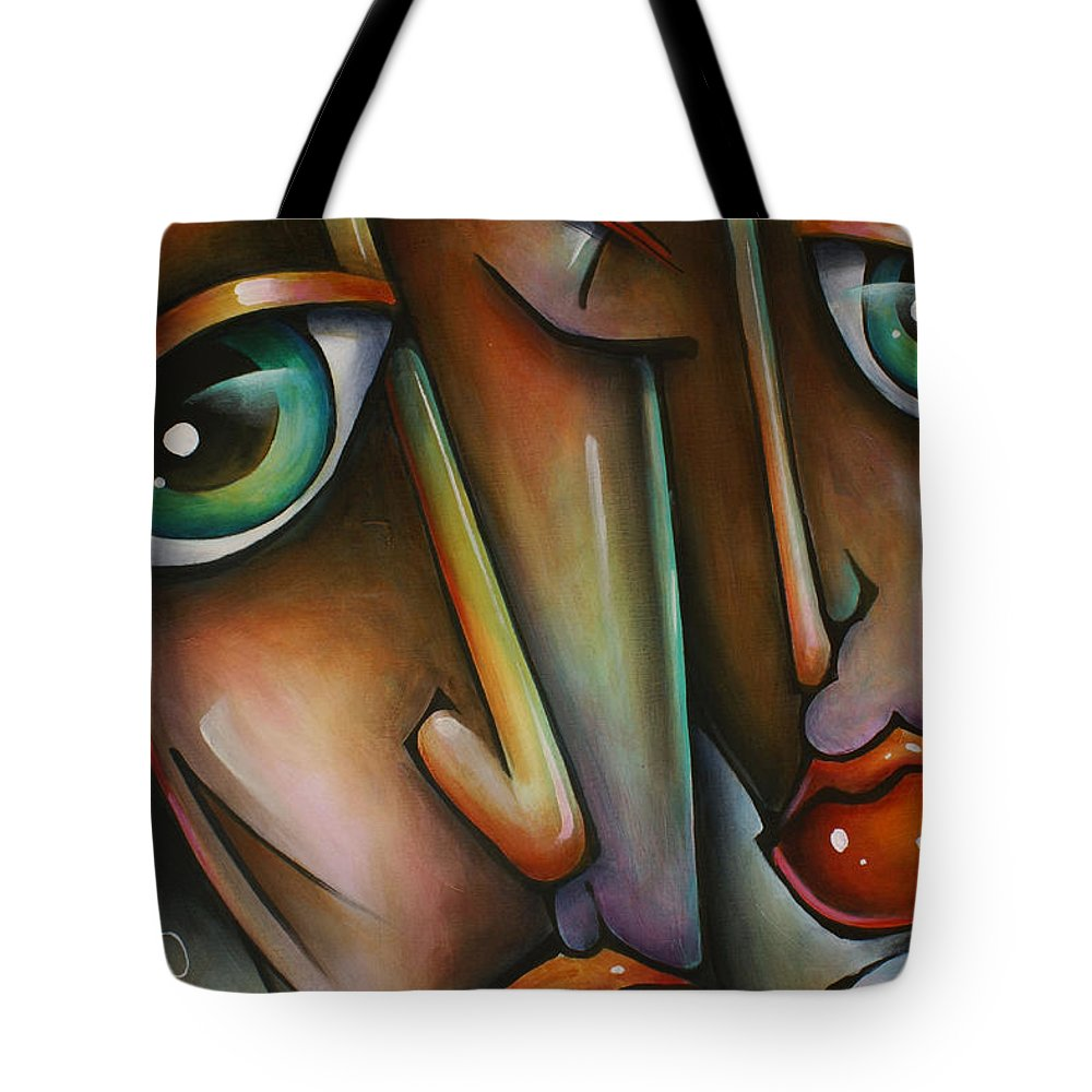 Portrait Tote Bag featuring the painting 'together' by Michael Lang