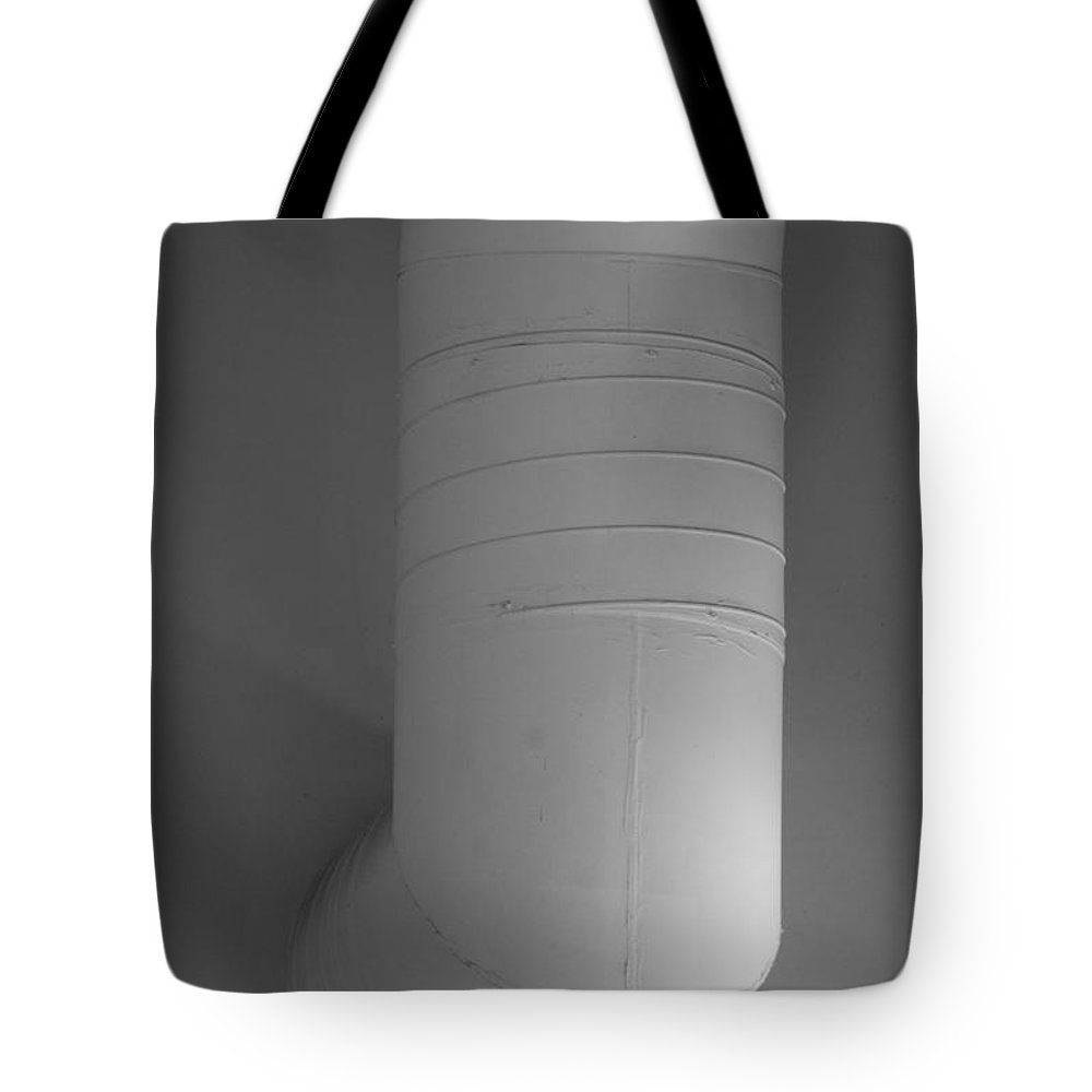 Black And White Tote Bag featuring the photograph White Pipe by Rob Hans