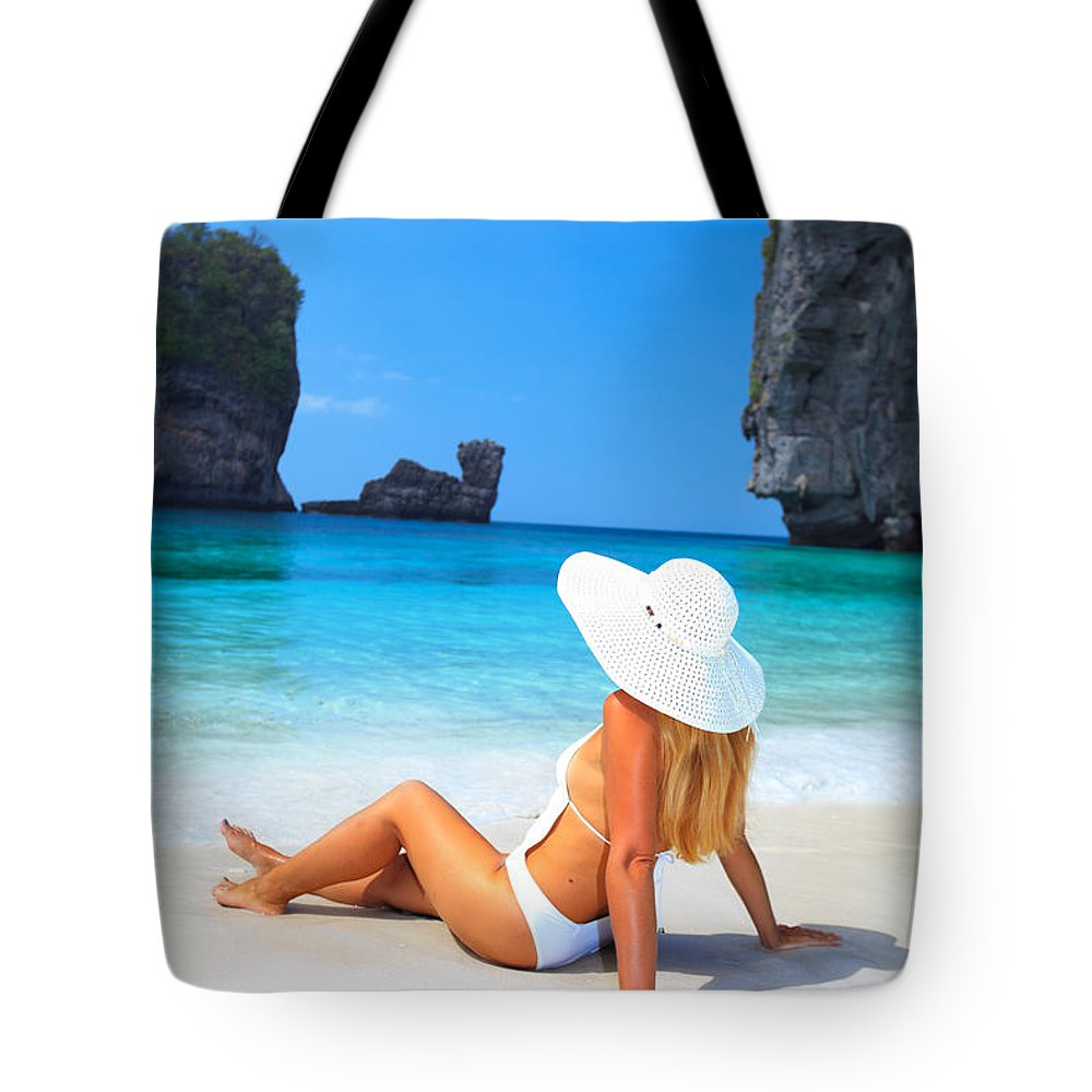 Woman Tote Bag featuring the photograph Woman On The Beach by MotHaiBaPhoto Prints
