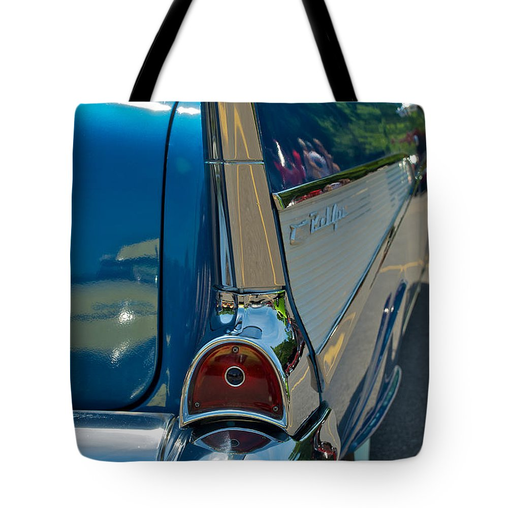 57 Chevy Tote Bag featuring the photograph 57 Chevy Bel Air 2 by Mark Dodd