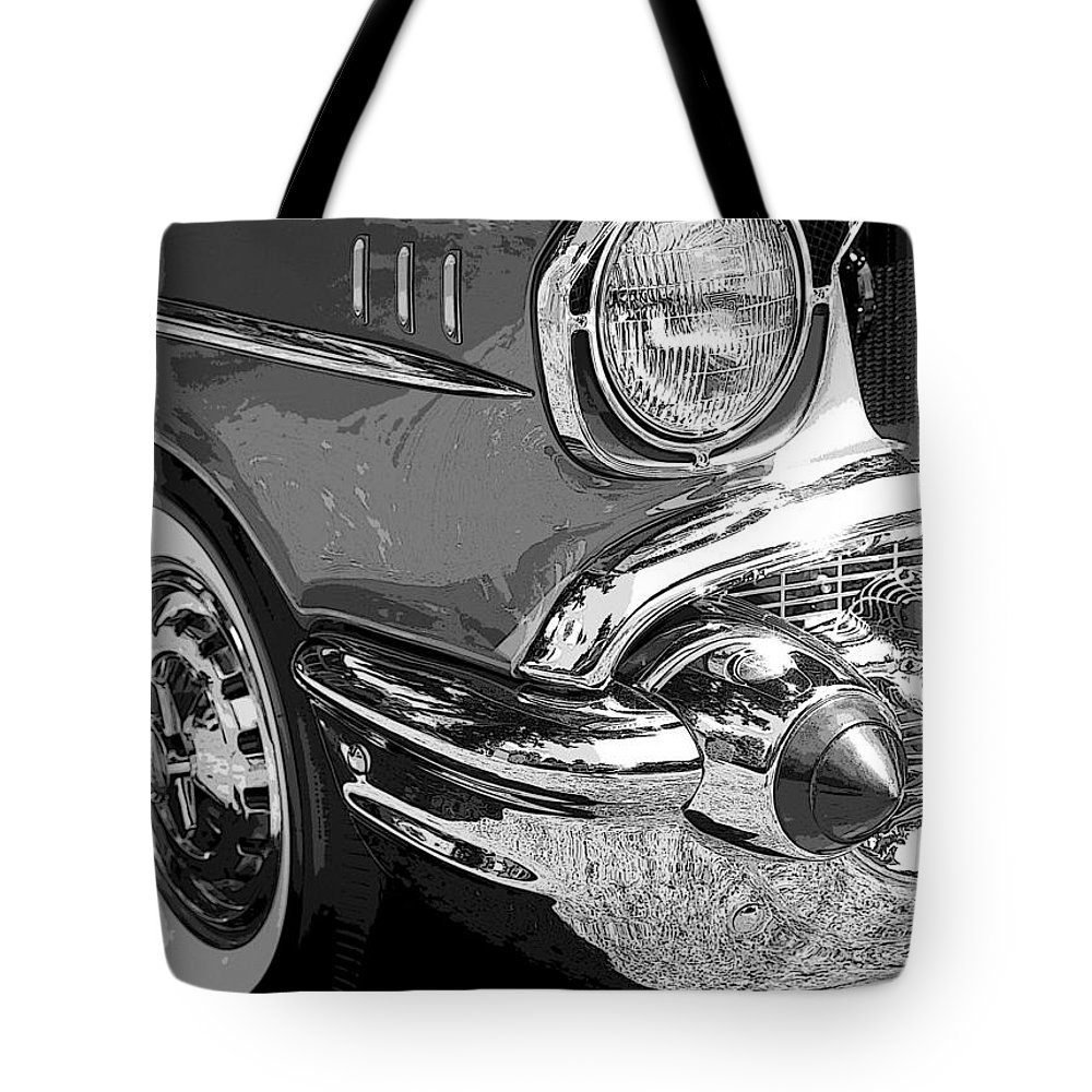 Hot Rod Tote Bag featuring the photograph 57 Chevy by Steve McKinzie