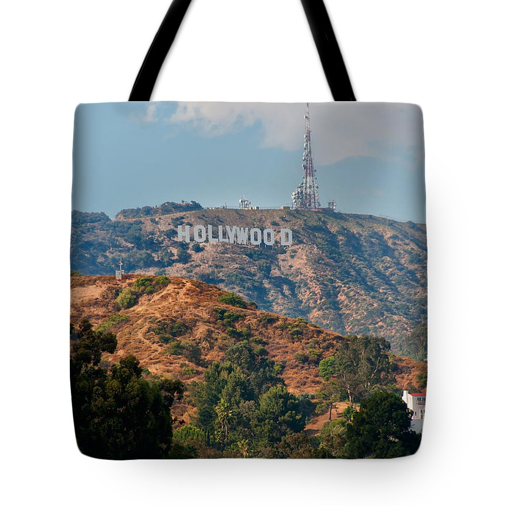 California Tote Bag featuring the digital art Hollywood by Carol Ailles