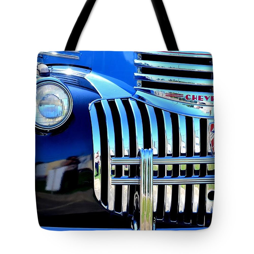 1964 Tote Bag featuring the photograph 64 Chevy Grill by Maria Urso