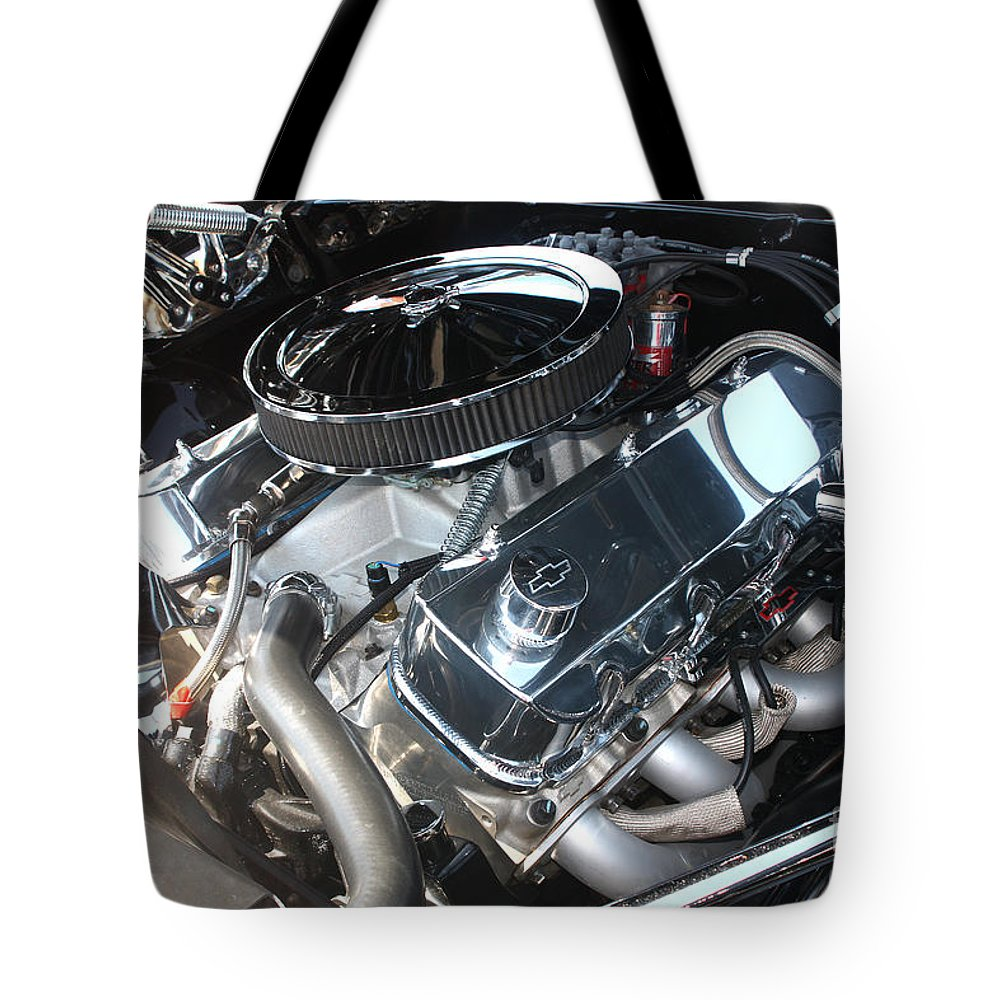 1967 Tote Bag featuring the photograph 67 Black Camaro Ss 396 Engine-8033 by Gary Gingrich Galleries