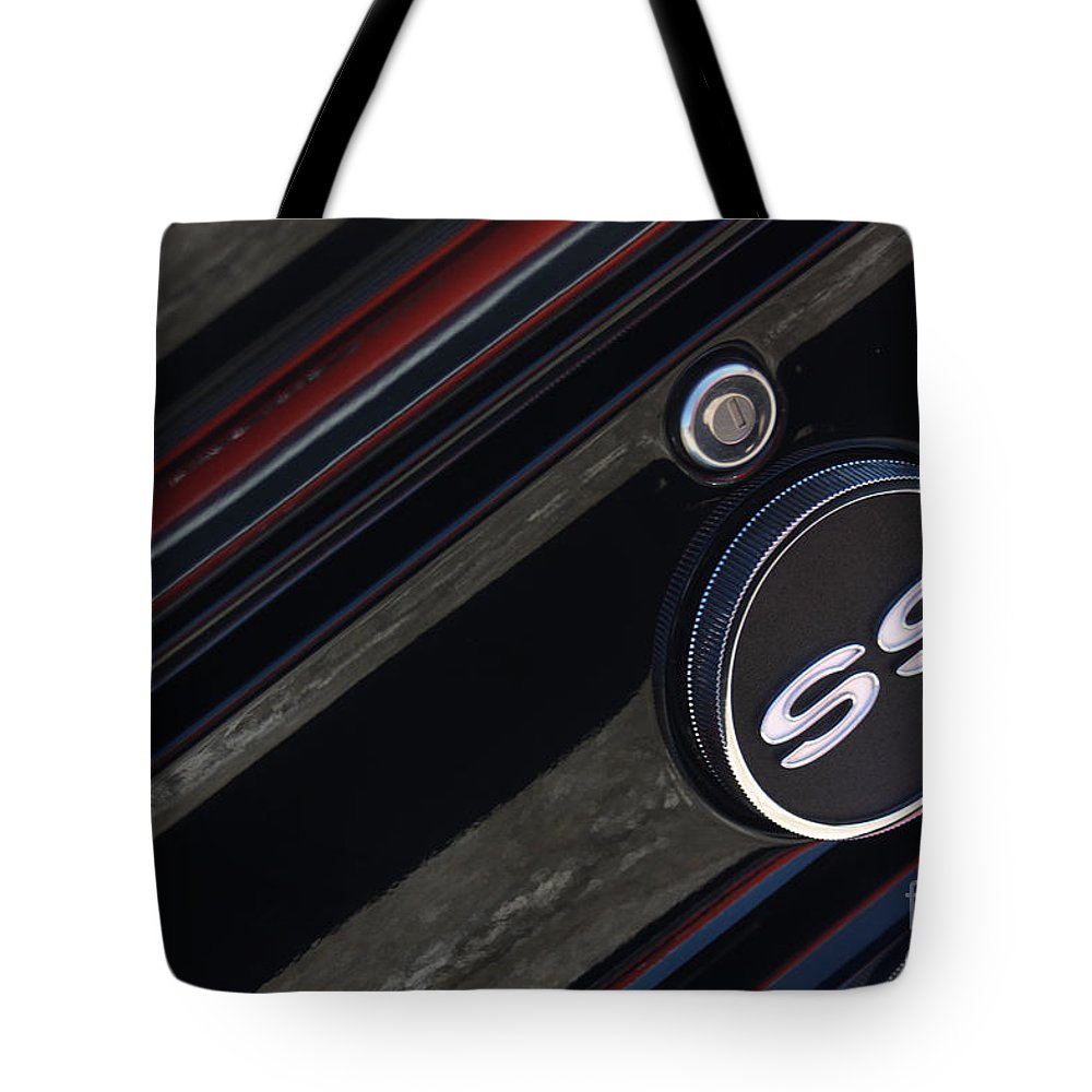 1967 Tote Bag featuring the photograph 67 Black Camaro Ss Gas Tank-8019 by Gary Gingrich Galleries