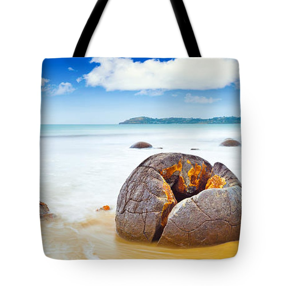 Moeraki Tote Bag featuring the photograph Moeraki Boulders by MotHaiBaPhoto Prints