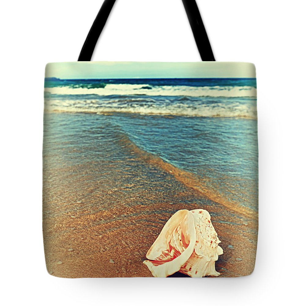 Background Tote Bag featuring the photograph Seashell by MotHaiBaPhoto Prints