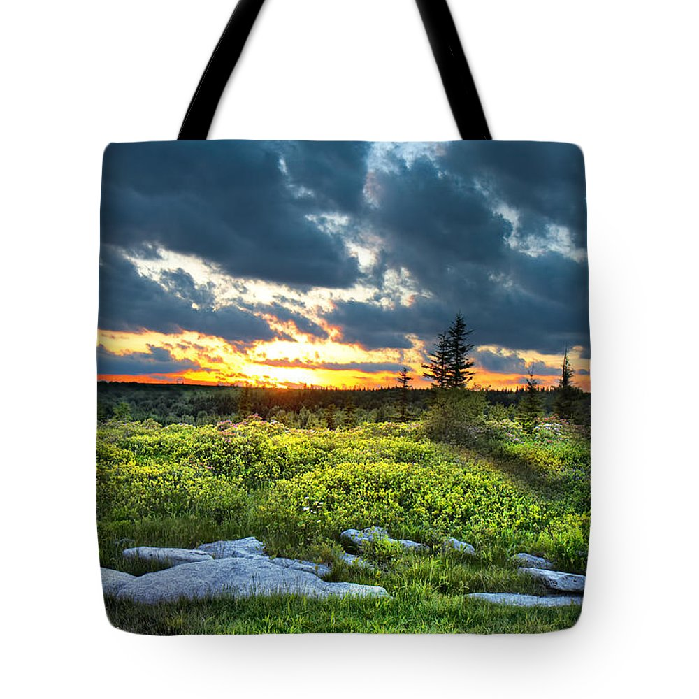 Sunset Tote Bag featuring the photograph Dolly Sods Wilderness by Mary Almond