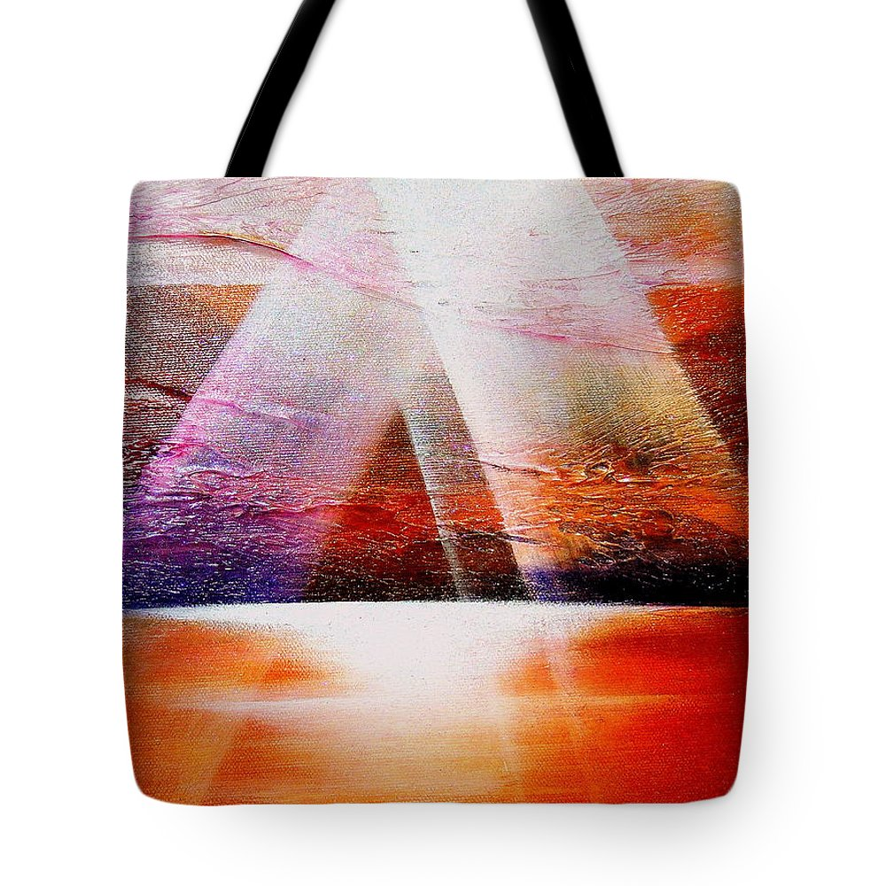 Sunrise.ocean.light.sunshine.landscape.healing.sea..brilliant.maiestic Tote Bag featuring the painting Hope by Kumiko Mayer