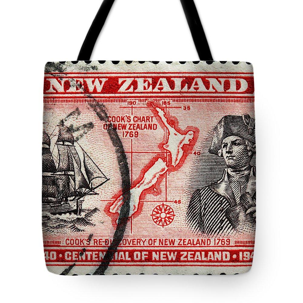Old New Zealand Postage Stamp Tote Bag featuring the photograph old New Zealand postage stamp by James Hill