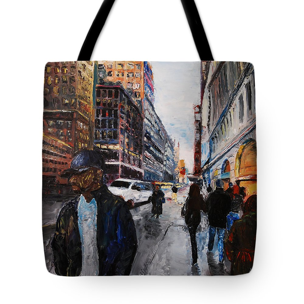 Landscape Tote Bag featuring the painting 82nd Street by Lauren Luna