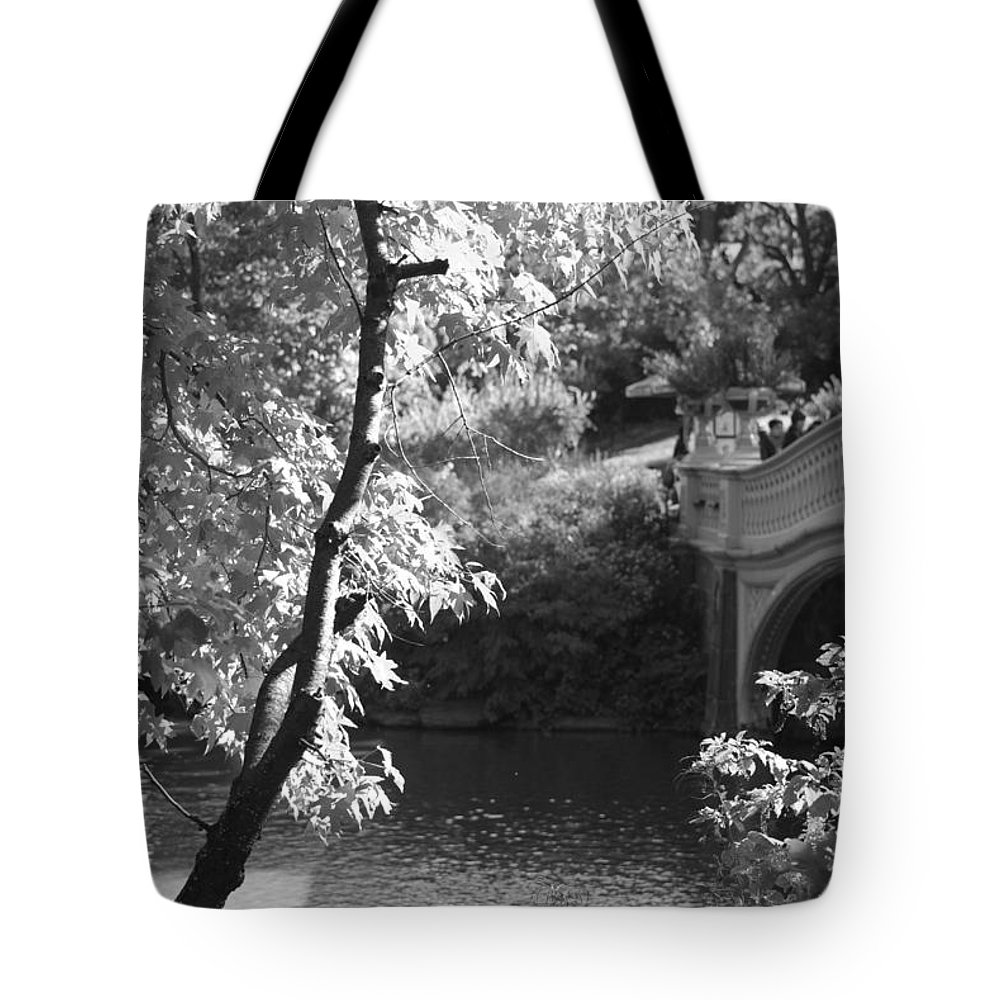Central Park Tote Bag featuring the photograph Bow Bridge In Black And White by Rob Hans
