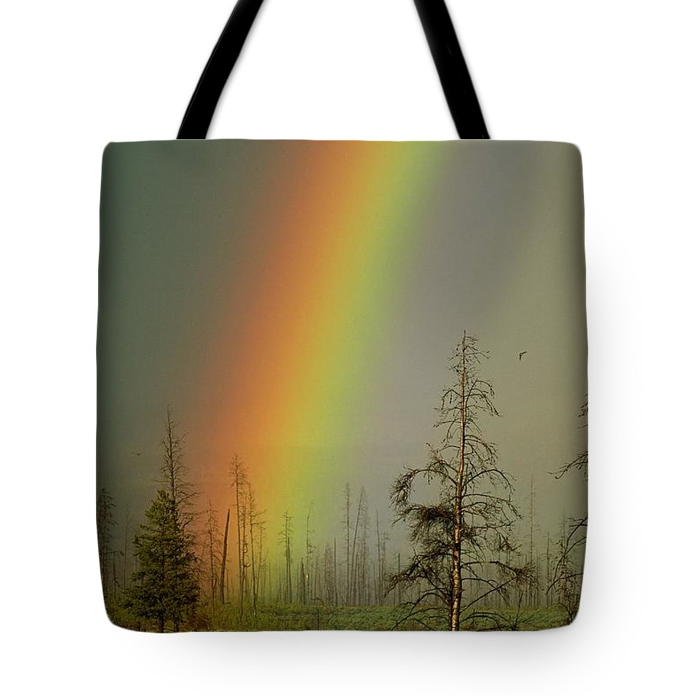 Madison River Valley Tote Bag featuring the photograph A Brilliantly Colored Rainbow Ends by Norbert Rosing