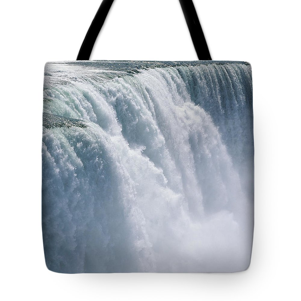 North America Tote Bag featuring the photograph A Cascade Of Water Thunders by Skip Brown