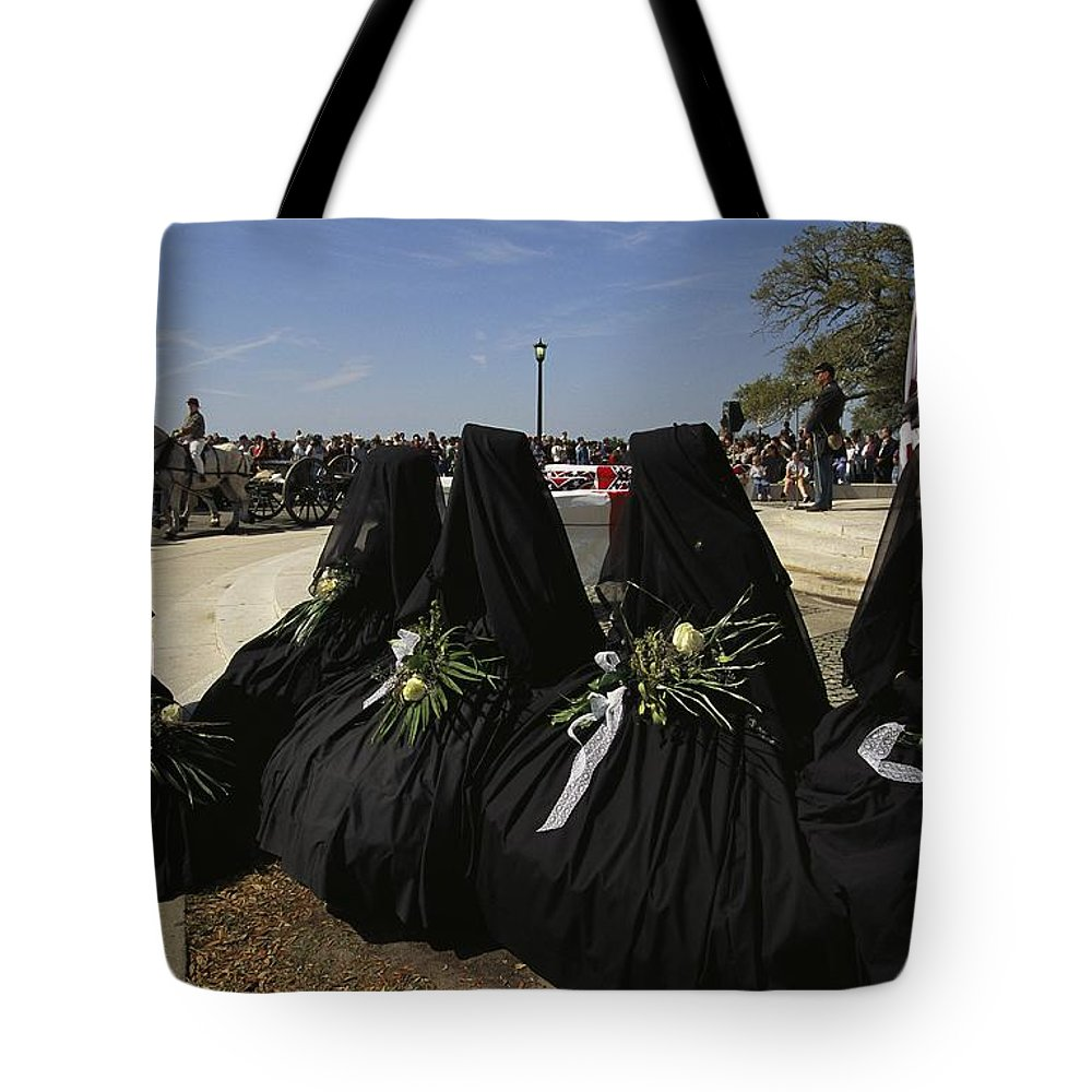Reenactments Tote Bag featuring the photograph A Civil War-era Funeral Is Recreated by Ira Block