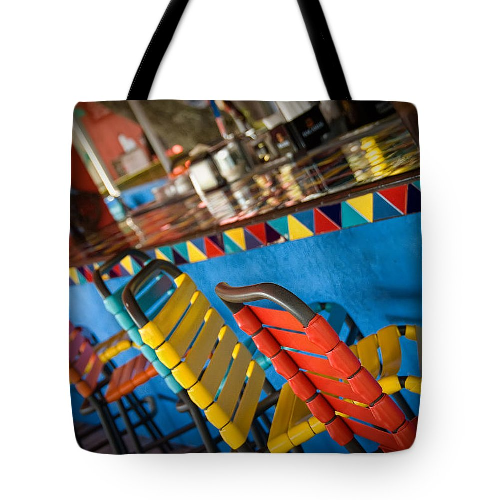 Color Tote Bag featuring the photograph A Colorful Bar by Cindy Tiefenbrunn