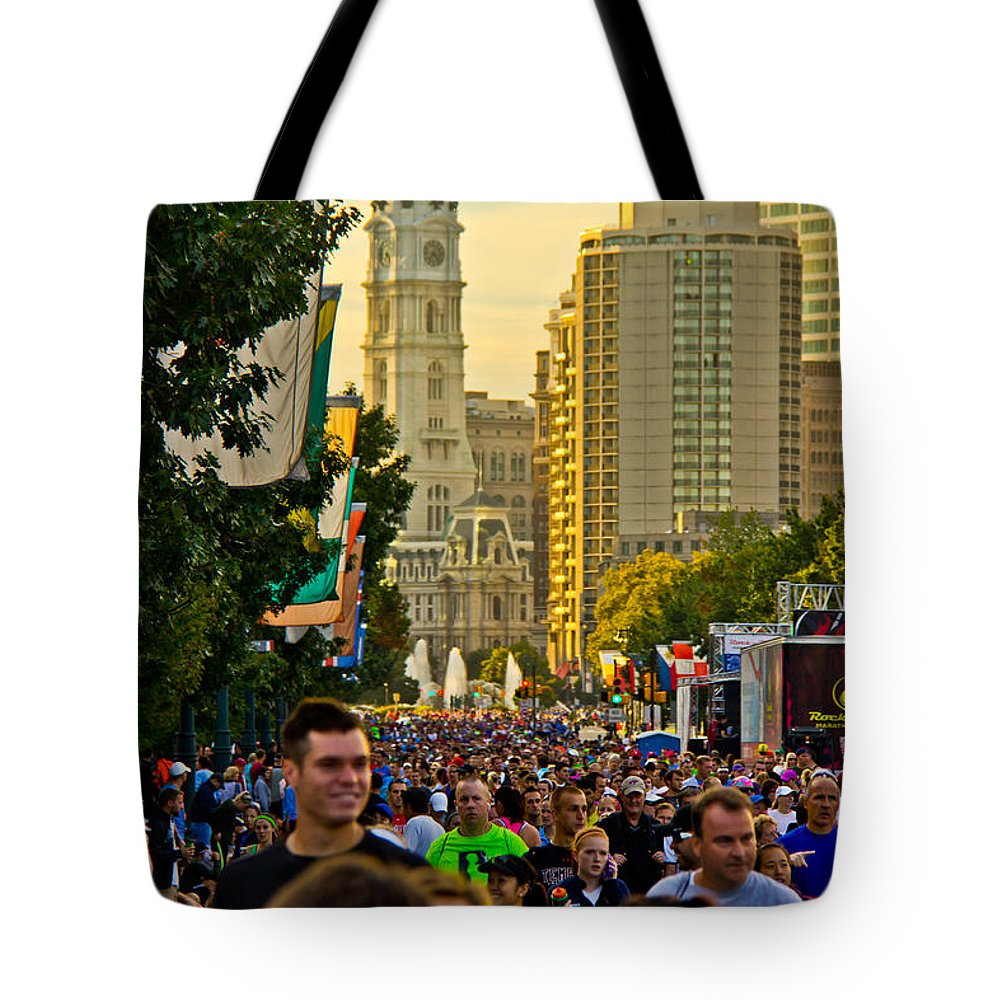 People Tote Bag featuring the photograph A Few People Showed Up by Tom Gari Gallery-Three-Photography