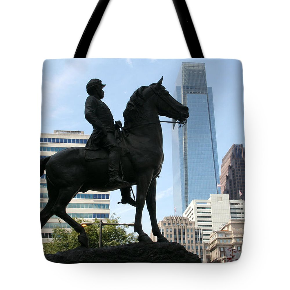 General Horse Statue City Hall Philadelphia Tote Bag featuring the photograph A General And His Horse In Philly by Alice Gipson