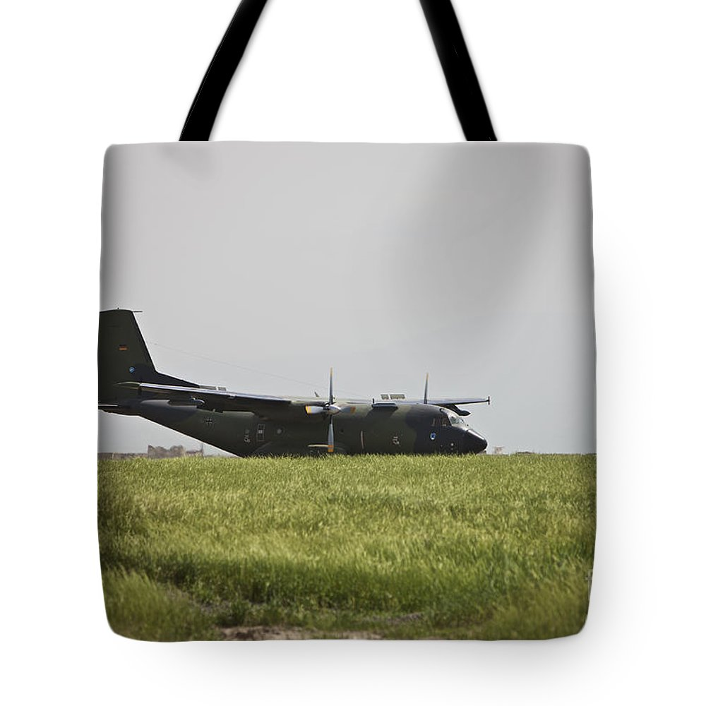 Propeller Tote Bag featuring the photograph A German Air Force Transall C-160 Taxis by Terry Moore