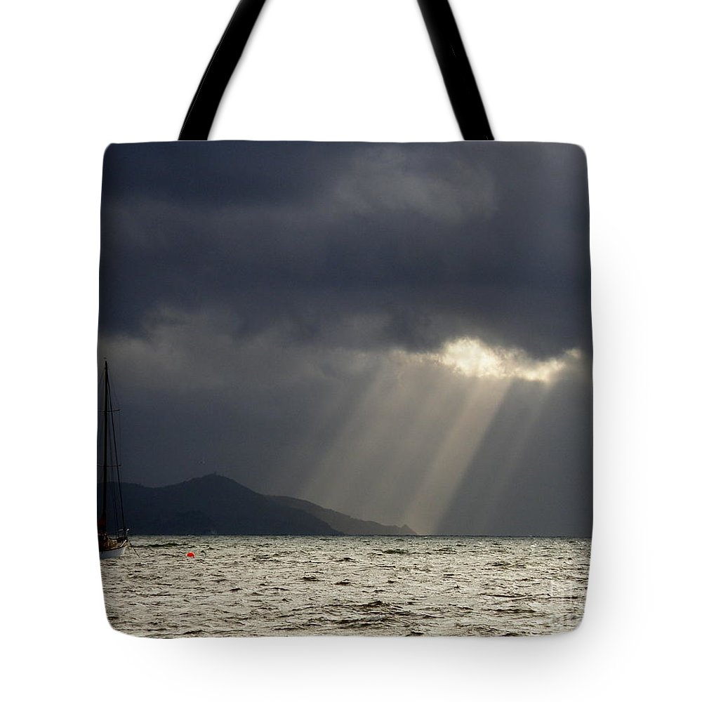 Seascape Tote Bag featuring the photograph A Light In The Storm by Lainie Wrightson