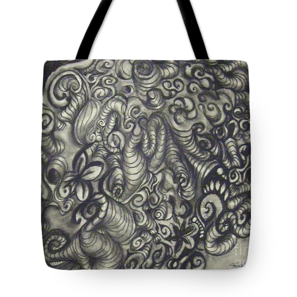 Fantasy Tote Bag featuring the drawing A Little Bit Of That by Cynthia Campbell