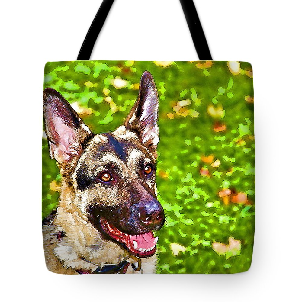 German Shepherd Dog Portrait Colorful Guard Tote Bag featuring the photograph A Little German by Alice Gipson