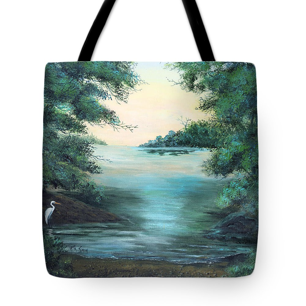 Egret Tote Bag featuring the painting A Lone Egret by Rita Smith