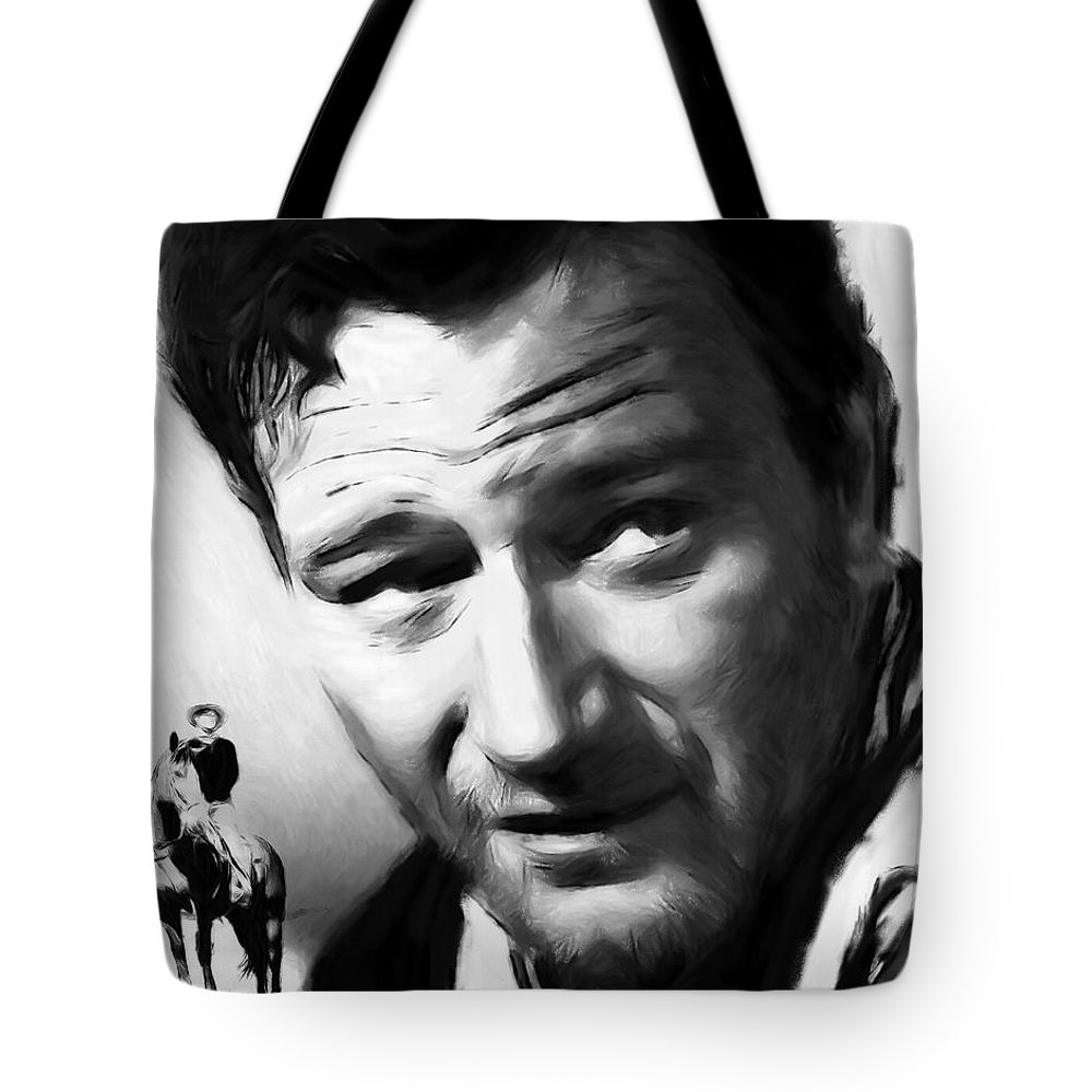 Pastel Painting John Wayne Famous Actor Man Male Hero Cowboy Star Movie Texas Horse Face Portrait Expressionism Horse Ride Western Rodeo Strong Tote Bag featuring the painting A Man Goes His Way by Steve K