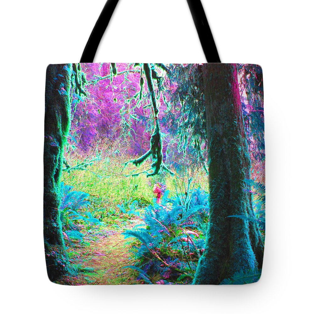 Trail Tote Bag featuring the photograph A Path Along A River by Marie Jamieson