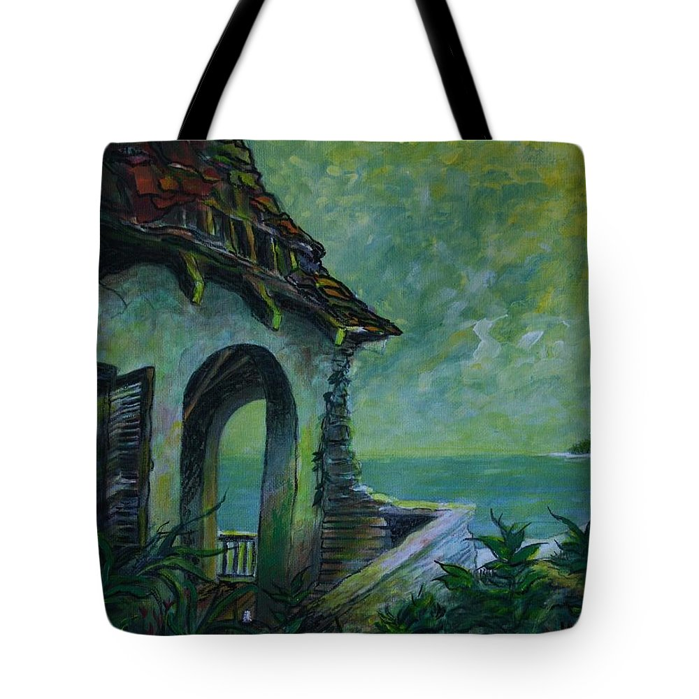 Island Art Tote Bag featuring the painting A Place In The Sun by William Bezik