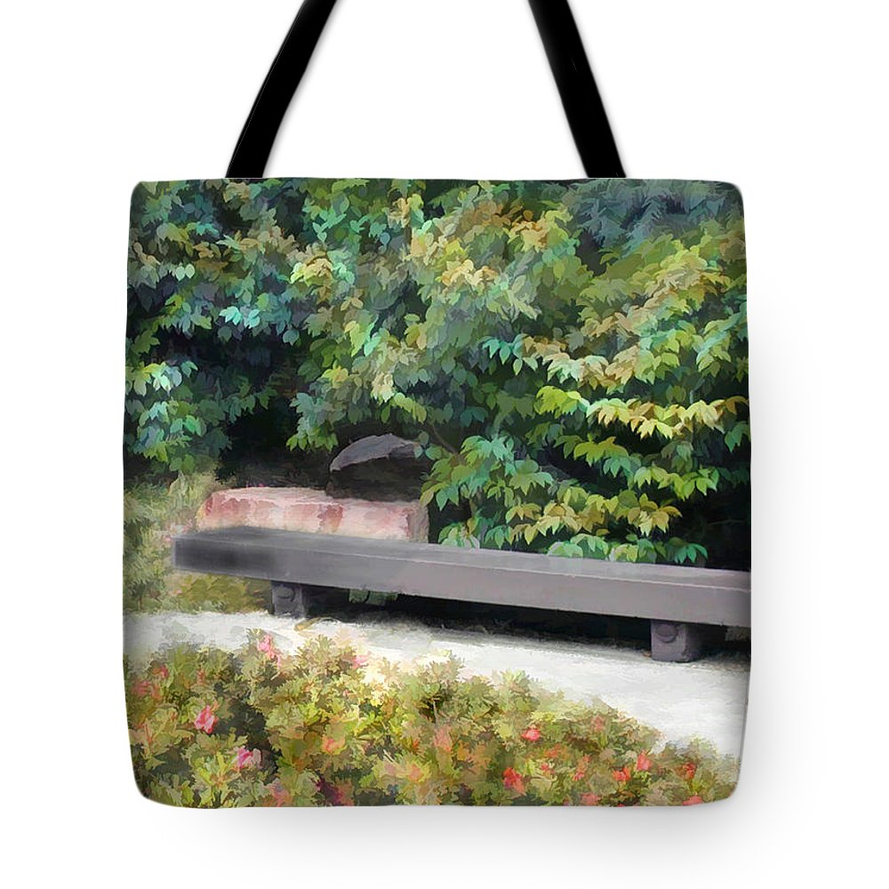 Japanese Garden Tote Bag featuring the painting A Place Of Contemplation by Elaine Plesser