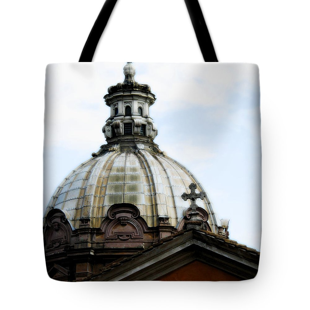 Rome Tote Bag featuring the photograph A Roman Church And Dome by Mike Nellums