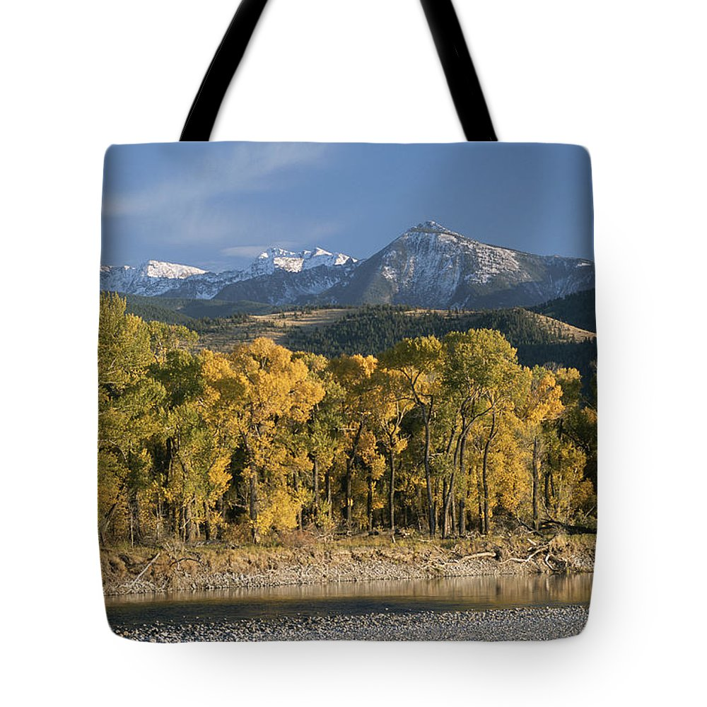 North America Tote Bag featuring the photograph A Scenic View Of The Yellowstone River by Tom Murphy