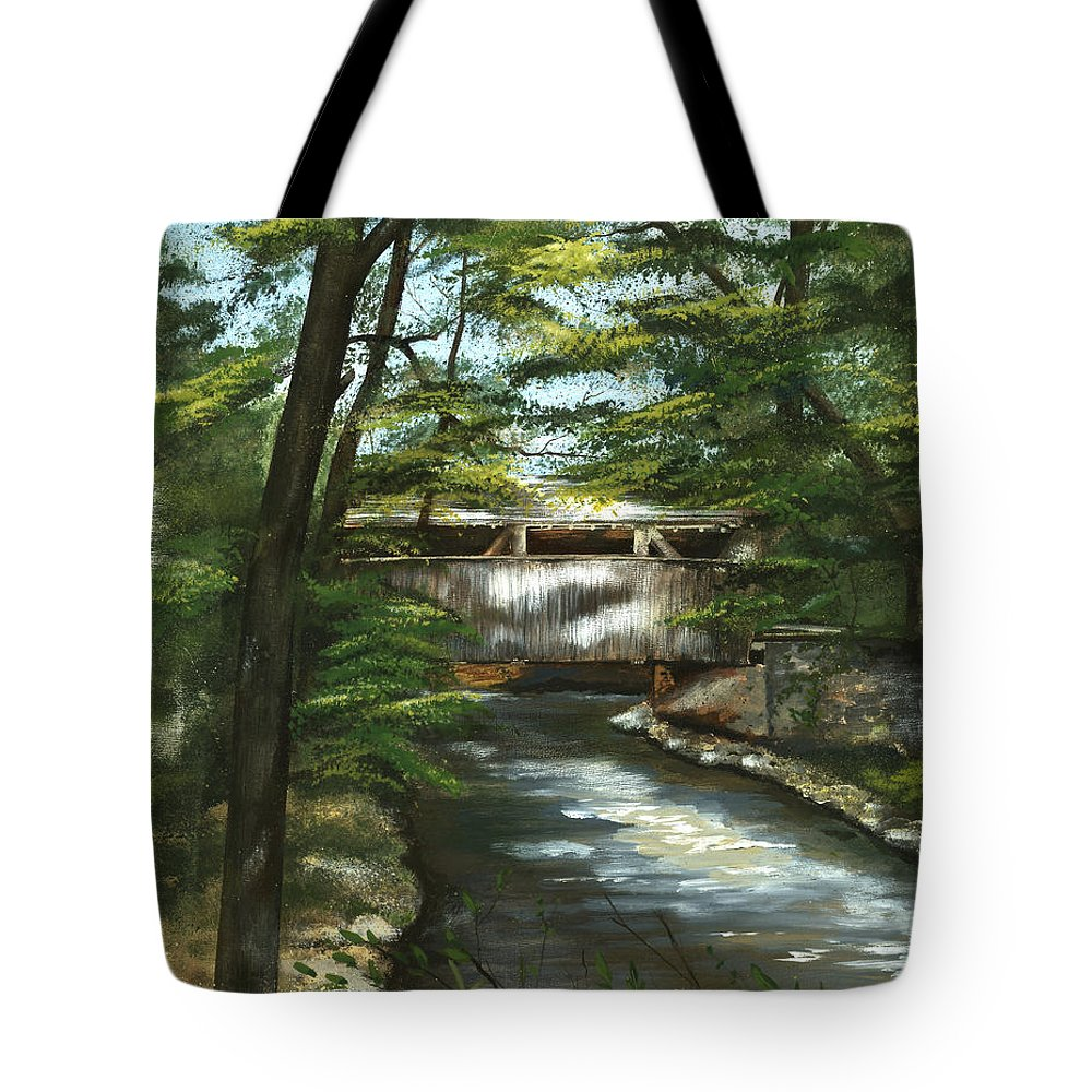Covered Bridge Tote Bag featuring the painting A Summer Walk Along The Creek by Nancy Patterson