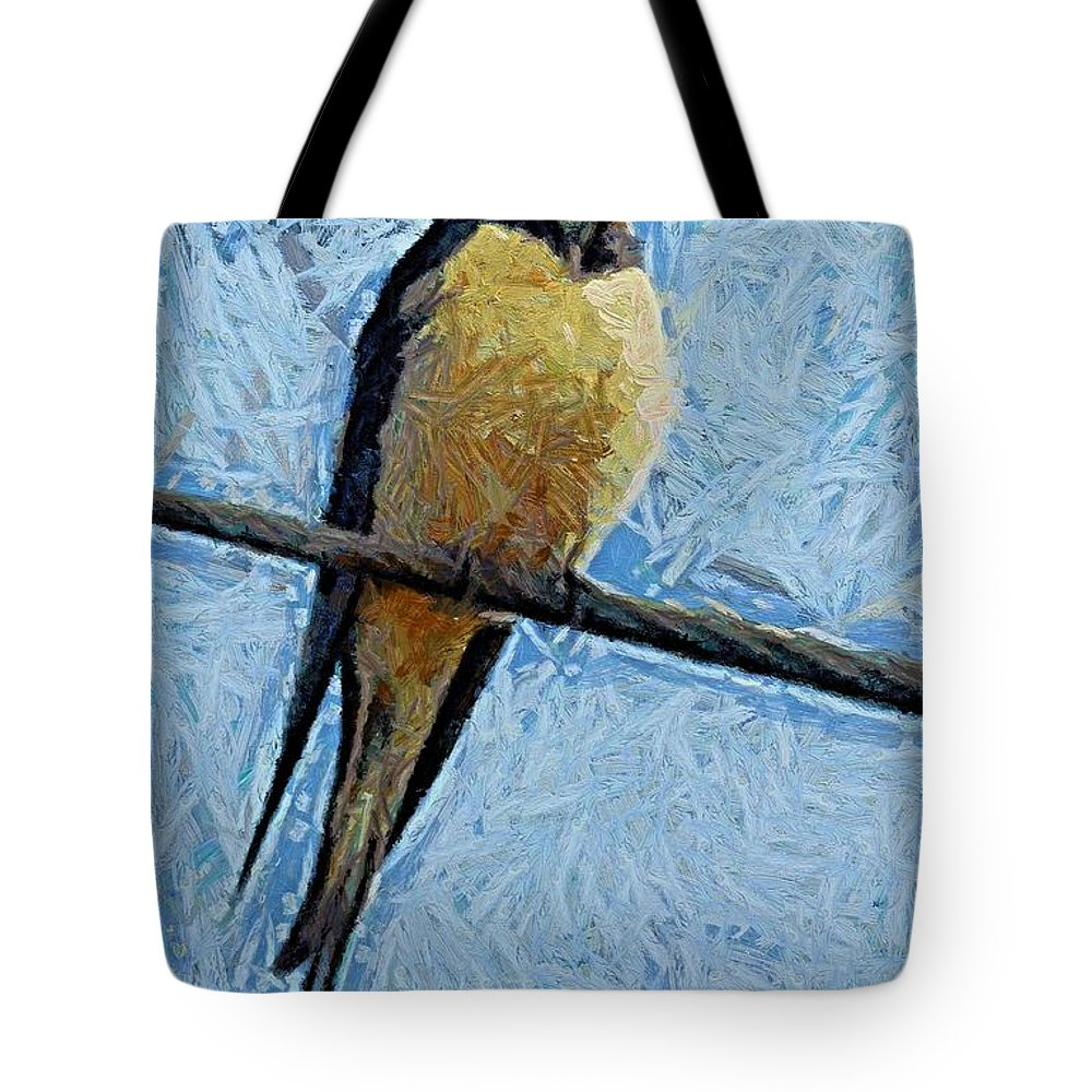 A Swallow Tote Bag featuring the painting A Swallow On A Wire by Dragica Micki Fortuna