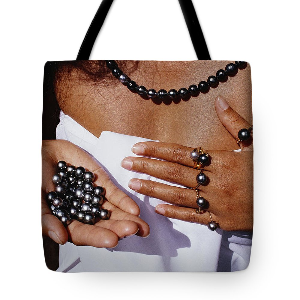 Tahiti Island Tote Bag featuring the photograph A Tahitian Woman Displaying An by Paul Chesley