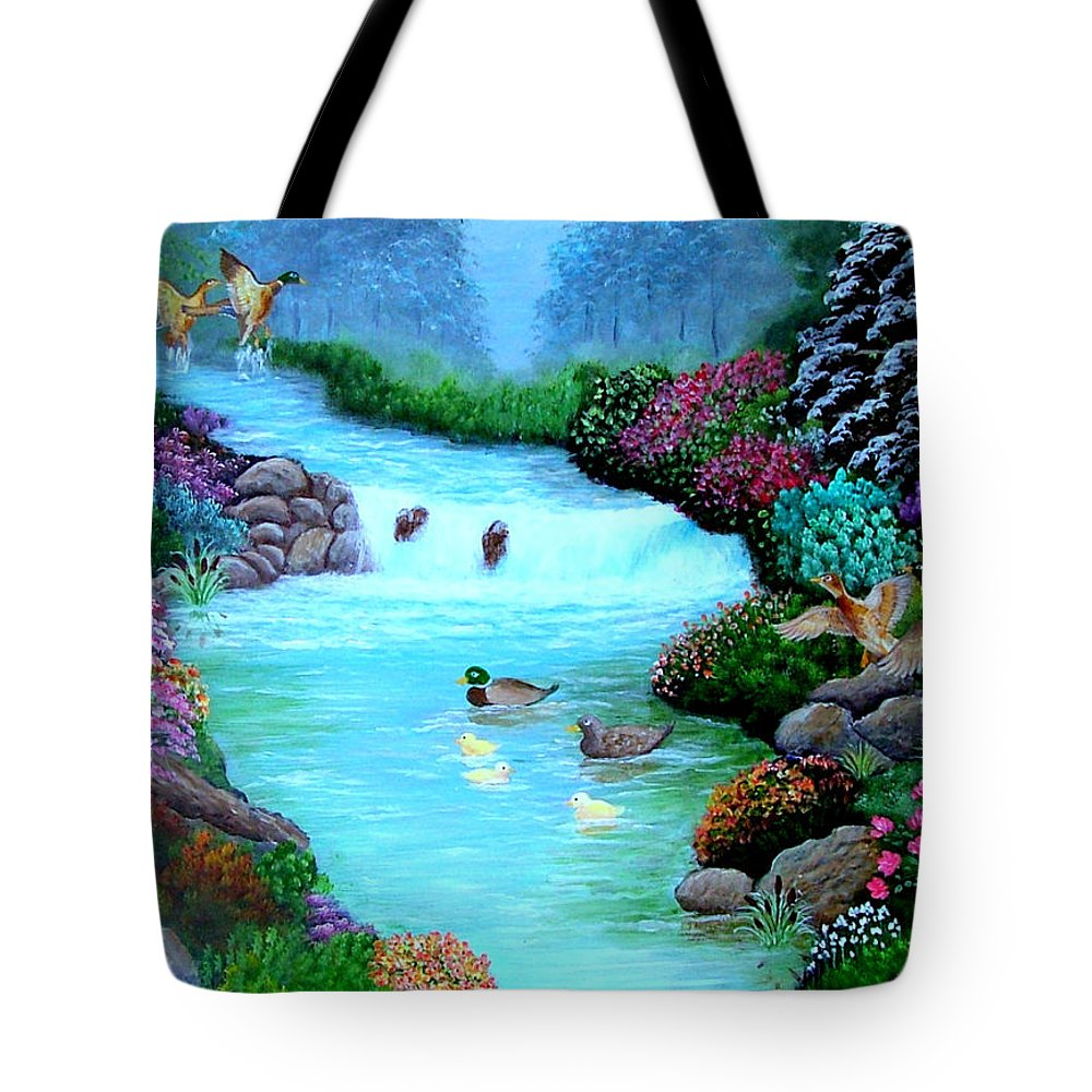 Landscape--ducks--stream--flowers-wildlife Tote Bag featuring the painting A Taste Of Heaven by Fram Cama