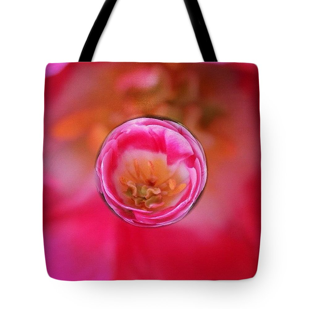 Floral Tote Bag featuring the photograph A tiny perfect tulip in a marble by Anna Porter