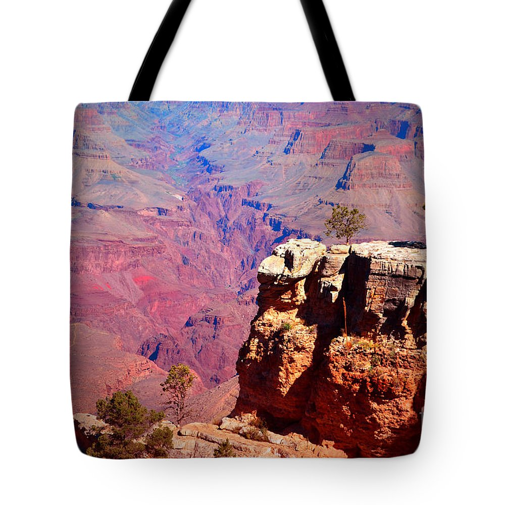 Grand Canyon Tote Bag featuring the photograph A Tree And The Canyon by Tara Turner