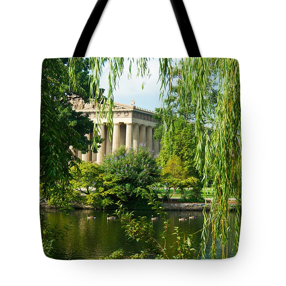 Parthenon Tote Bag featuring the photograph A View Of The Parthenon 12 by Douglas Barnett