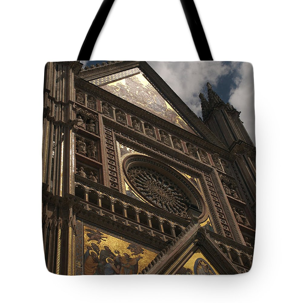 Built Structure Tote Bag featuring the photograph A View Upward At The Duomo Di Orvieto by Heather Perry