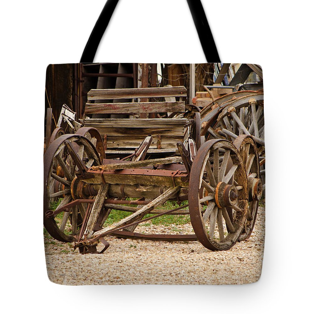 Fine Art Tote Bag featuring the photograph A Wagon And Wheels by Donna Greene